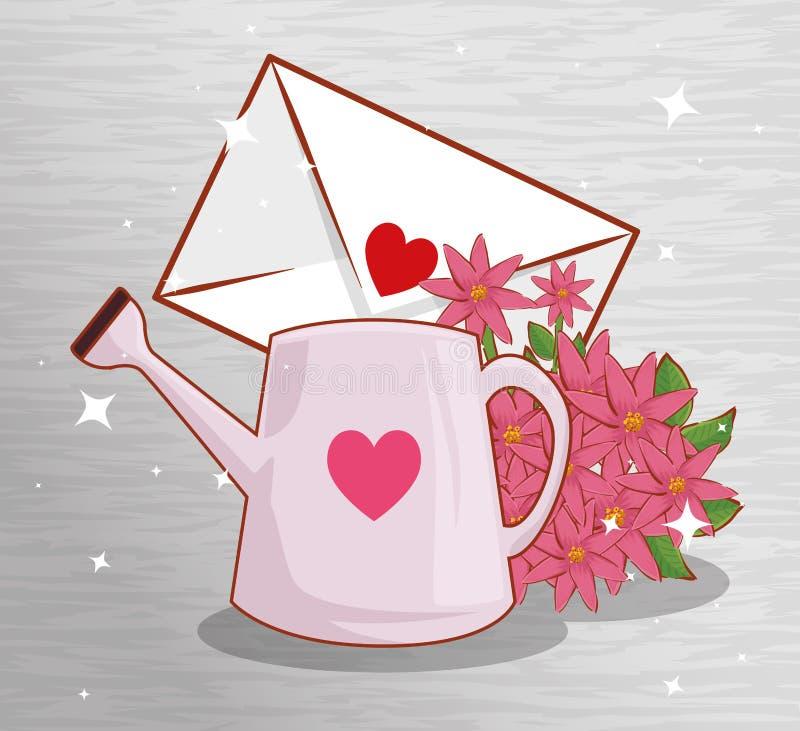 Η κάρτα αγάπης με τις εγκαταστάσεις λουλουδιών και το πότισμα μπορούν ελεύθερη απεικόνιση δικαιώματος