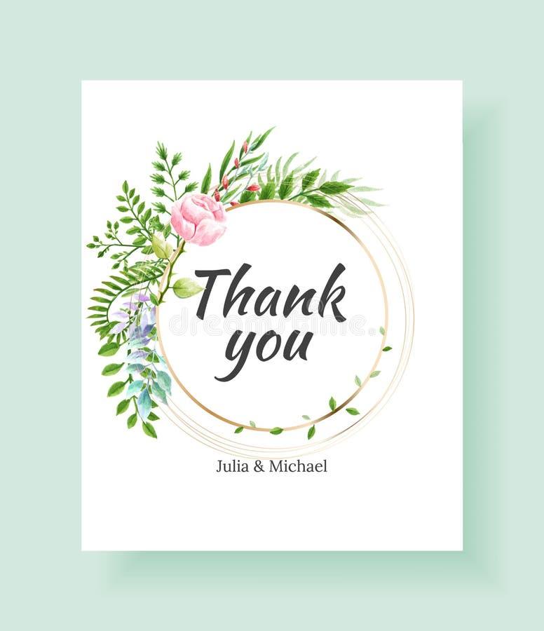 Η κάρτα γαμήλιας πρόσκλησης, εκτός από την ημερομηνία, σας ευχαριστεί, rsvp πρότυπο Διανυσματικά λουλούδια watercolor, κρίνος, εγ απεικόνιση αποθεμάτων