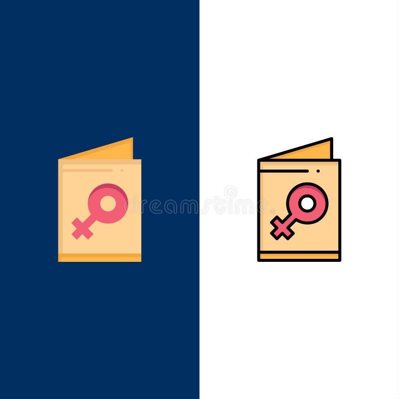 Η κάρτα, θηλυκό, σύμβολο, προσκαλεί τα εικονίδια Επίπεδος και γραμμή γέμισε το καθορισμένο διανυσματικό μπλε υπόβαθρο εικονιδίων απεικόνιση αποθεμάτων