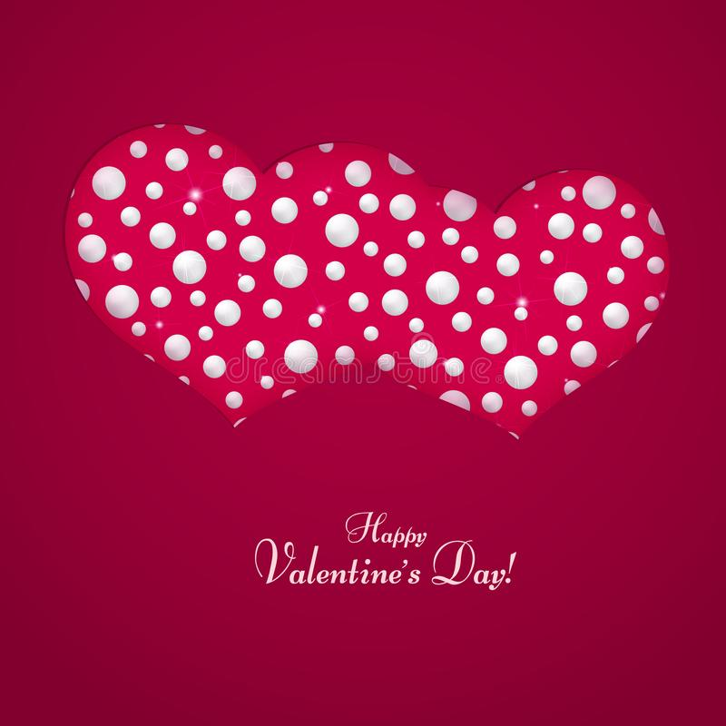 Η κάρτα με ένα ζευγάρι των καρδιών έκανε από το σύμβολο μαργαριταριών του κειμένου αγάπης και γάμου του προτύπου ημέρας του ευτυχ διανυσματική απεικόνιση