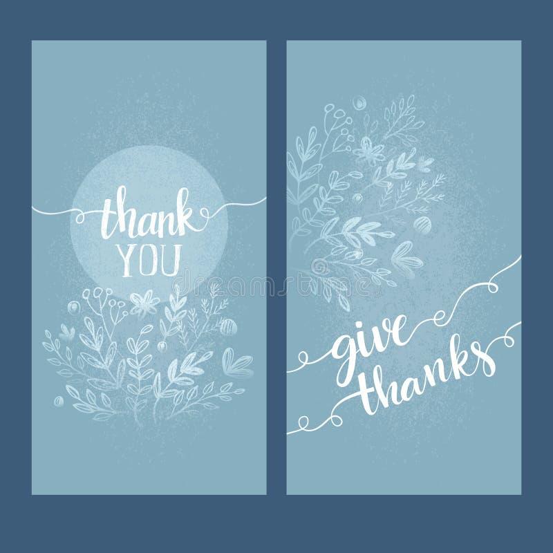 Η κάρτα με τις λέξεις σας ευχαριστεί διανυσματική απεικόνιση