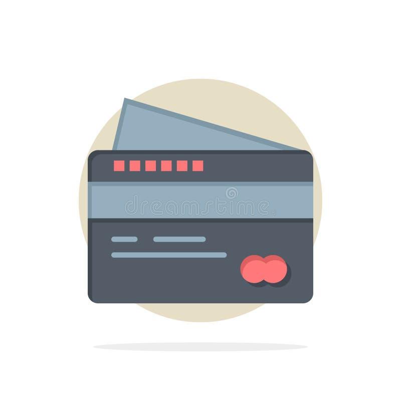 Η κάρτα, πίστωση, πληρωμή, πληρώνει στο αφηρημένο υπόβαθρο κύκλων το επίπεδο εικονίδιο χρώματος απεικόνιση αποθεμάτων