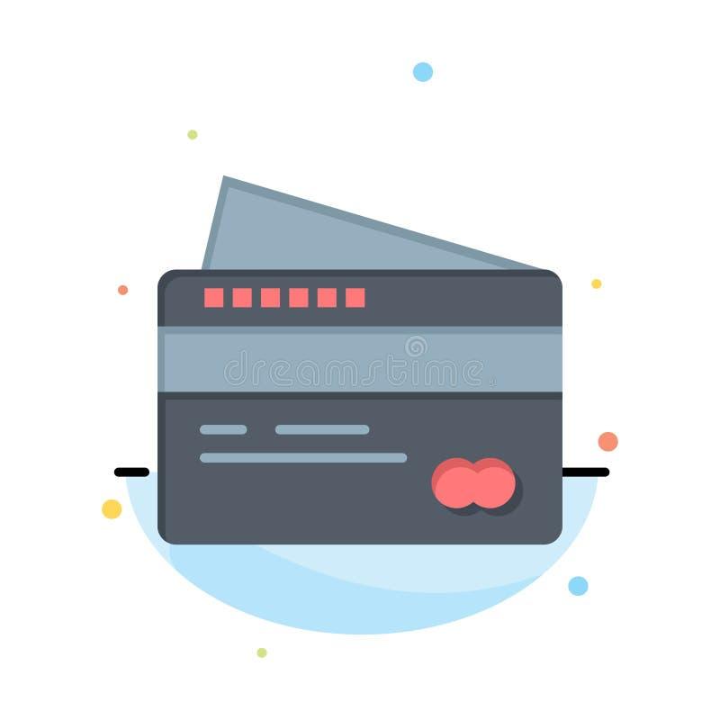 Η κάρτα, πίστωση, πληρωμή, πληρώνει το αφηρημένο επίπεδο πρότυπο εικονιδίων χρώματος απεικόνιση αποθεμάτων