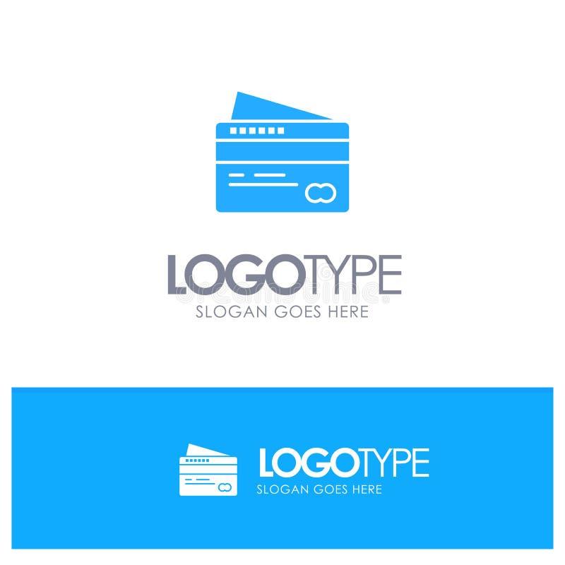 Η κάρτα, πίστωση, πληρωμή, πληρώνει το μπλε διάνυσμα λογότυπων απεικόνιση αποθεμάτων