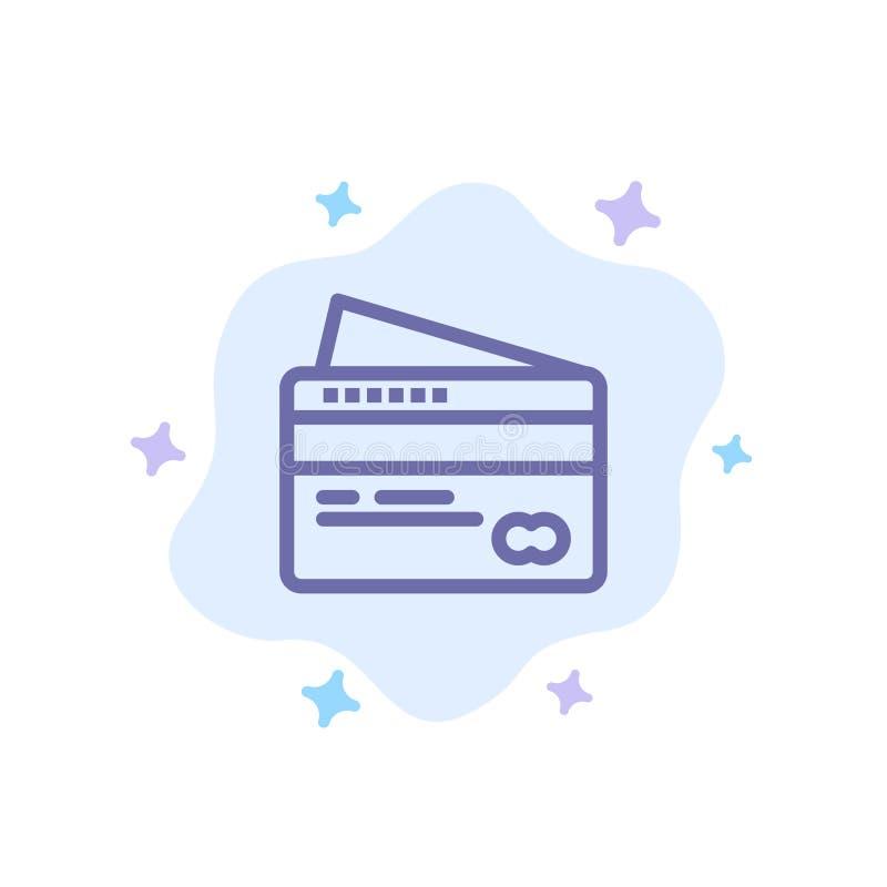 Η κάρτα, πίστωση, πληρωμή, πληρώνει το μπλε εικονίδιο στο αφηρημένο υπόβαθρο σύννεφων απεικόνιση αποθεμάτων