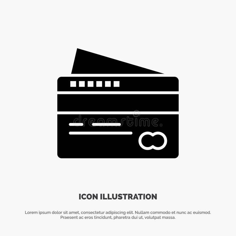 Η κάρτα, πίστωση, πληρωμή, πληρώνει το στερεό μαύρο εικονίδιο Glyph διανυσματική απεικόνιση