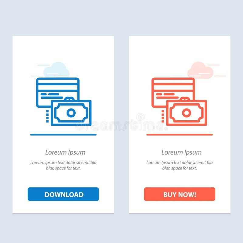 Η κάρτα, η πίστωση, η πληρωμή, τα χρήματα μπλε και το κόκκινο μεταφορτώνουν και αγοράζουν τώρα το πρότυπο καρτών Widget Ιστού ελεύθερη απεικόνιση δικαιώματος