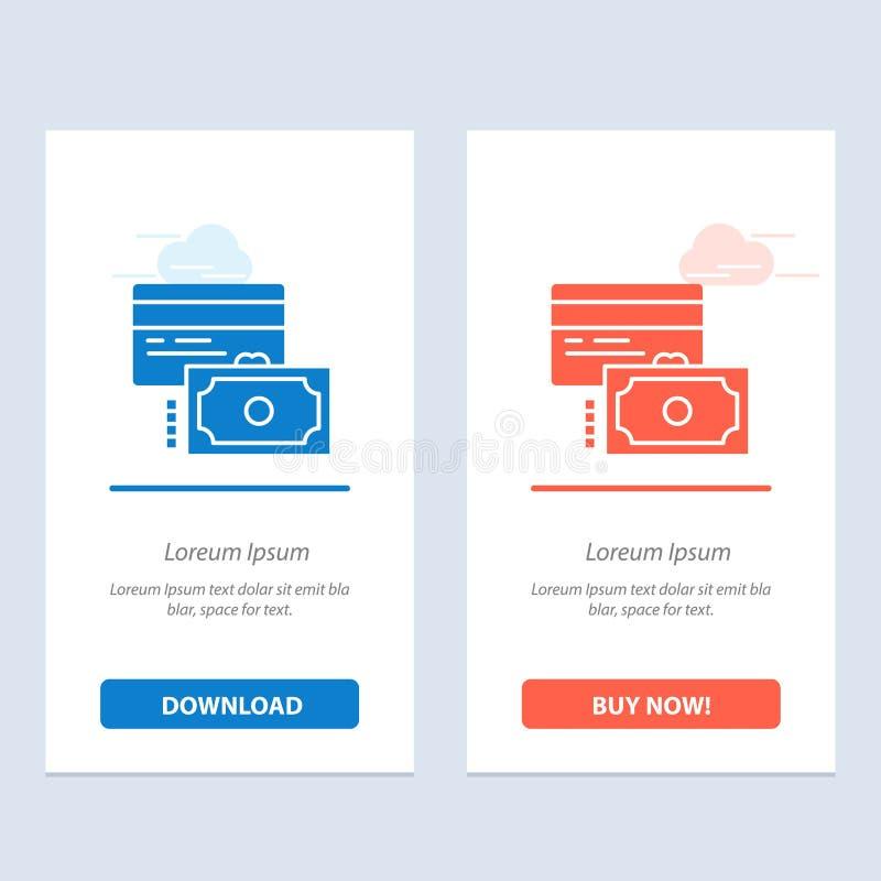 Η κάρτα, η πίστωση, η πληρωμή, τα χρήματα μπλε και το κόκκινο μεταφορτώνουν και αγοράζουν τώρα το πρότυπο καρτών Widget Ιστού διανυσματική απεικόνιση
