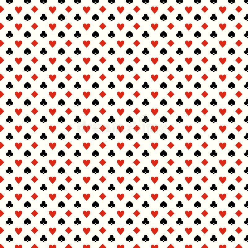 Η κάρτα παιχνιδιού ταιριάζει το άνευ ραφής σχέδιο - καρδιές, λέσχες, φτυάρια, διαμάντια ελεύθερη απεικόνιση δικαιώματος