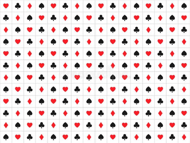 Η κάρτα παιχνιδιού υπογράφει το άνευ ραφής σχέδιο, υπόβαθρο χαρτοπαικτικών λεσχών διανυσματική απεικόνιση