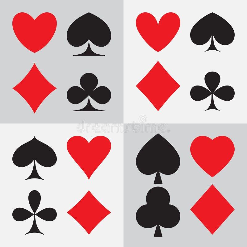 Η κάρτα παιχνιδιού ταιριάζει: τέσσερις διαφορετικοί τύποι σχεδίων απεικόνιση αποθεμάτων