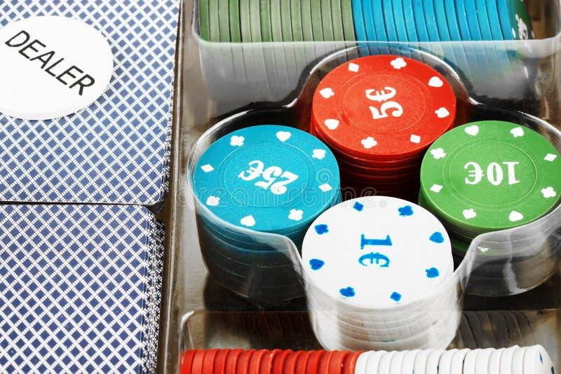 η κάρτα πελεκά το σύνολο πόκερ στοκ φωτογραφία