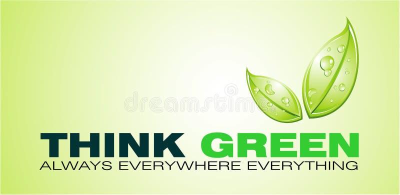 η κάρτα πράσινη σκέφτεται διανυσματική απεικόνιση