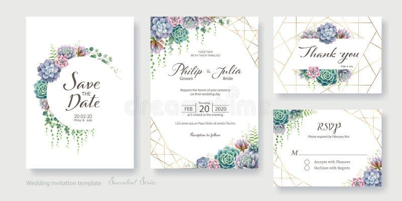 Η κάρτα πρόσκλησης πρασινάδων, succulent και κλάδων γάμου, εκτός από την ημερομηνία, σας ευχαριστεί, rsvp σχέδιο προτύπων r ελεύθερη απεικόνιση δικαιώματος
