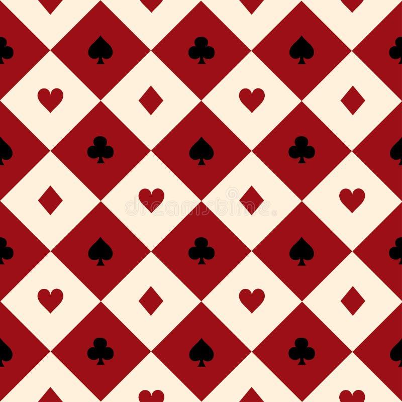 Η κάρτα ταιριάζει το κόκκινο Burgundy υπόβαθρο διαμαντιών πινάκων σκακιού κρέμας μπεζ μαύρο άσπρο ελεύθερη απεικόνιση δικαιώματος