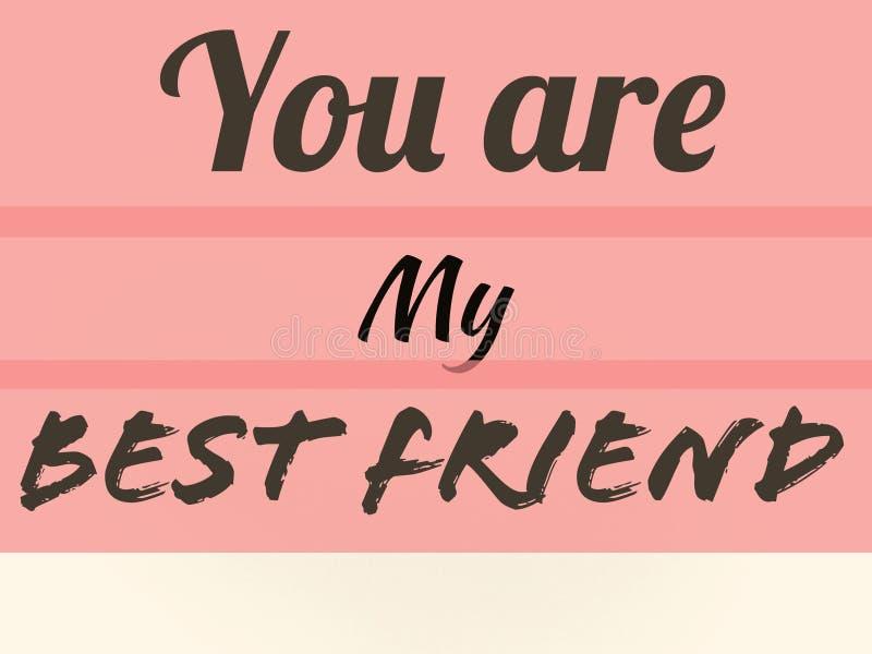 Η κάρτα φιλίας εσείς είναι ο καλύτερος φίλος μου στο ρόδινο τοίχο lite στοκ εικόνα με δικαίωμα ελεύθερης χρήσης
