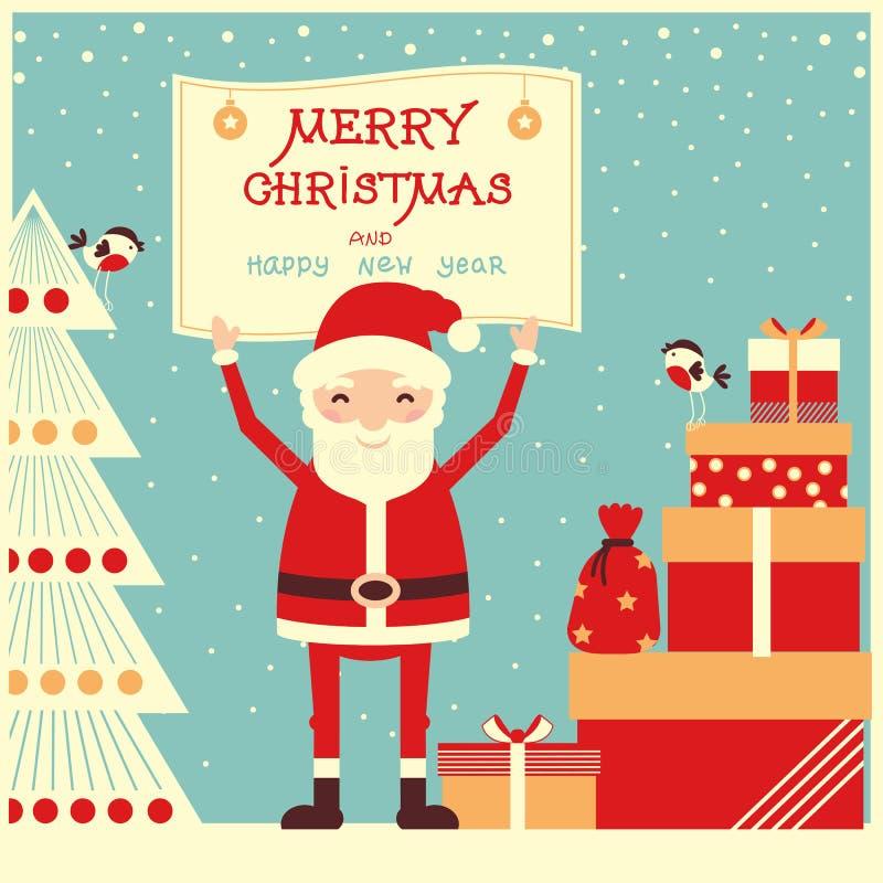Η κάρτα Χαρούμενα Χριστούγεννας με Άγιο Βασίλη και παρουσιάζει διανυσματική απεικόνιση