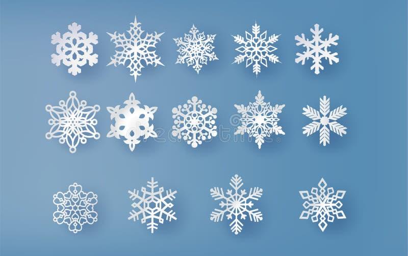 Η κάρτα Χριστουγέννων με το έγγραφο έκοψε τη νιφάδα χιονιού διανυσματική απεικόνιση