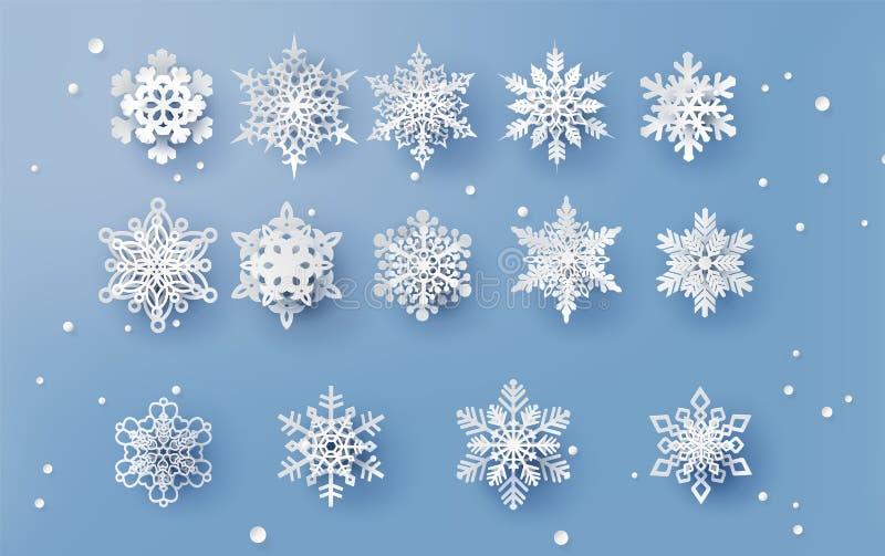 Η κάρτα Χριστουγέννων με το έγγραφο έκοψε τη νιφάδα χιονιού απεικόνιση αποθεμάτων