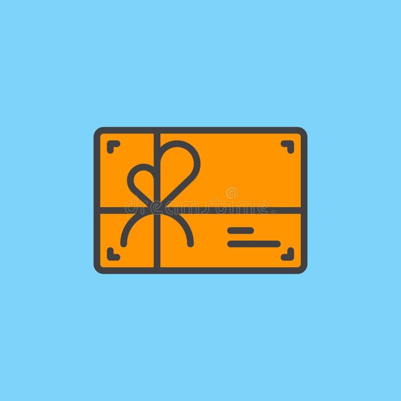 Η κάρτα δώρων γέμισε το εικονίδιο περιλήψεων, διανυσματικό σημάδι ελεύθερη απεικόνιση δικαιώματος