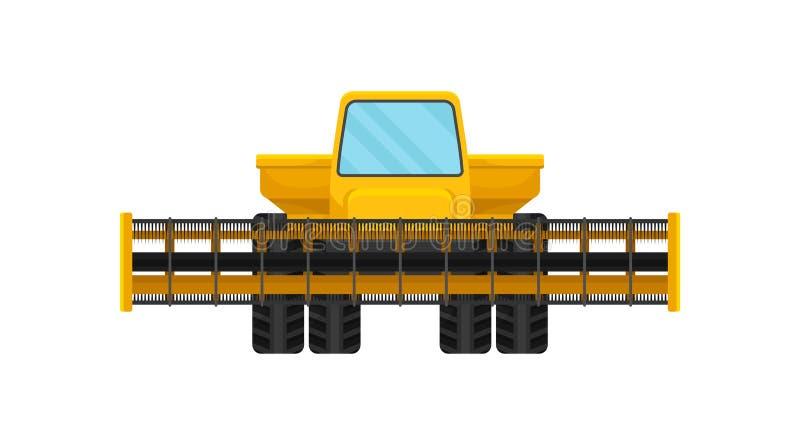 Η κίτρινη μηχανή συγκέντρωσης ή συνδυάζει τη θεριστική μηχανή πίσω από το αγροτικό παλαιό άροτρο εξοπλισμού που τραβά το ίχνος τρ απεικόνιση αποθεμάτων
