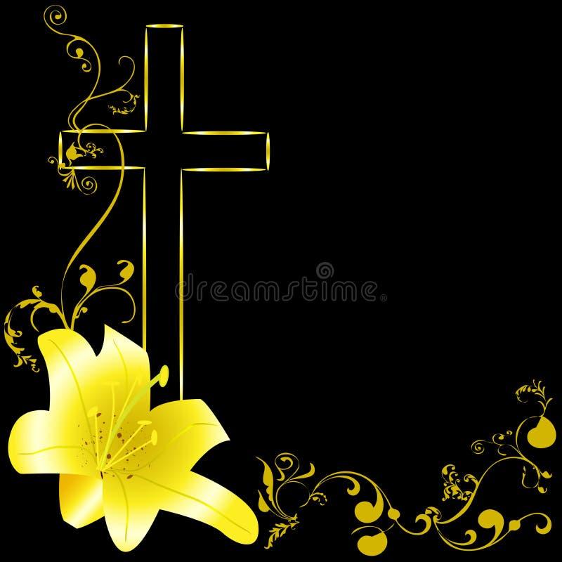 Η κίτρινη Lili και χριστιανικός σταυρός ελεύθερη απεικόνιση δικαιώματος