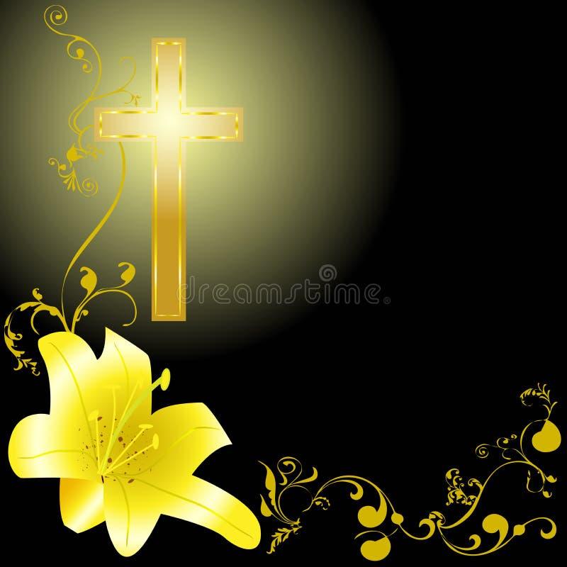 Η κίτρινη Lili και χριστιανικός σταυρός απεικόνιση αποθεμάτων