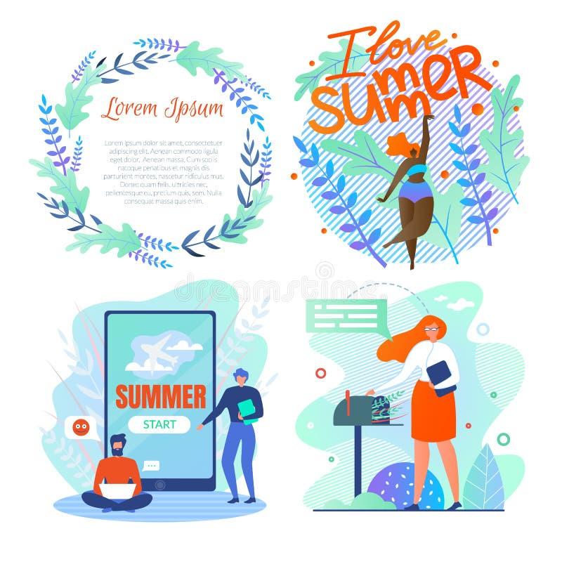 Η καθορισμένη αφίσα γράφεται το καλοκαίρι αγάπης Ι, εγγραφή διανυσματική απεικόνιση