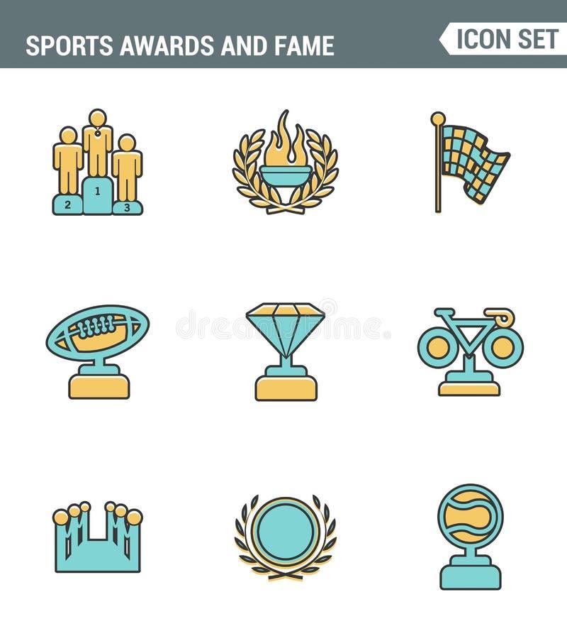 Η καθορισμένη εξαιρετική ποιότητα γραμμών εικονιδίων των βραβείων και η φήμη συμβολίζουν την τιμή αθλητικής νίκης Σύγχρονο εικονο διανυσματική απεικόνιση