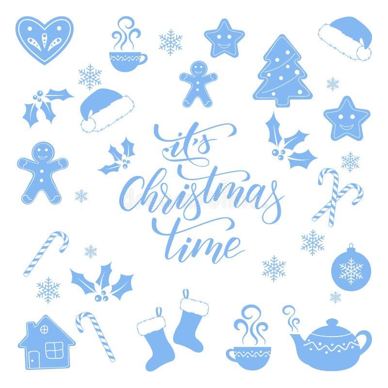 Η καλλιγραφία χρονικών βουρτσών Χριστουγέννων του απεικόνιση αποθεμάτων
