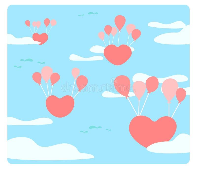 Η καρδιά επιπλέει στον ουρανό με τα μπαλόνια ελεύθερη απεικόνιση δικαιώματος