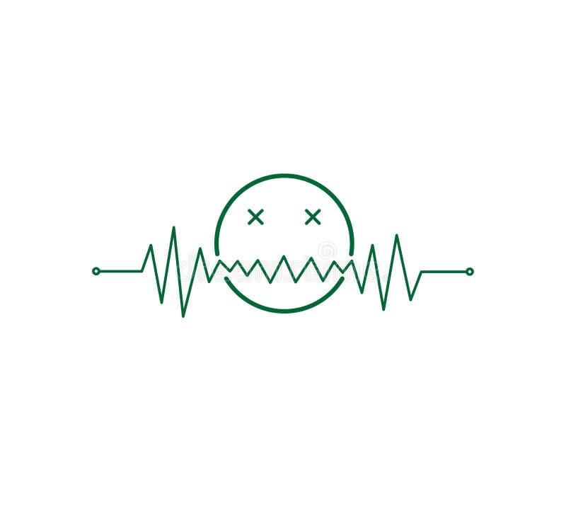 η καρδιά κτύπησε τη γραμμή σφυγμού γραφική με μια τοξική διανυσματική απεικόνιση emoticon ελεύθερη απεικόνιση δικαιώματος