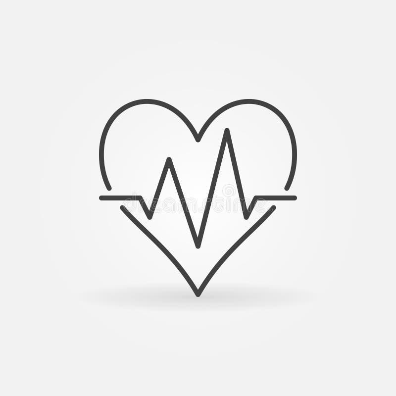 Η καρδιά κτύπησε το διανυσματικό ελάχιστο εικονίδιο Σημάδι κτύπου της καρδιάς διανυσματική απεικόνιση
