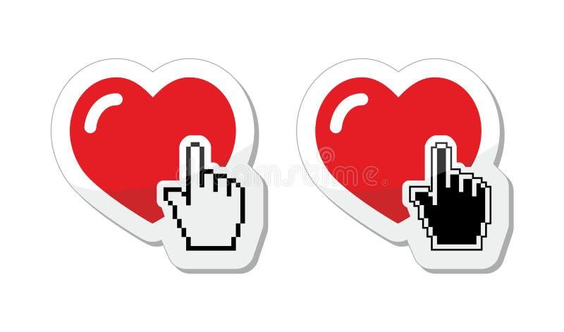 Η καρδιά με το χέρι δρομέων ονομάζει - βαλεντίνοι, αγάπη, που βρίσκει τη σε απευθείας σύνδεση έννοια συνεργατών απεικόνιση αποθεμάτων