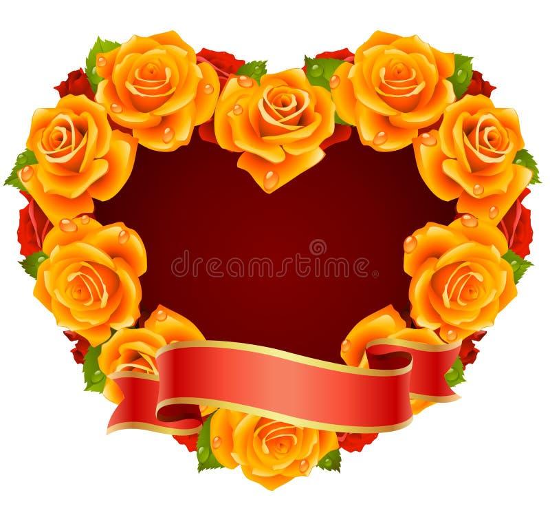 η καρδιά πλαισίων πορτοκ&alpha διανυσματική απεικόνιση