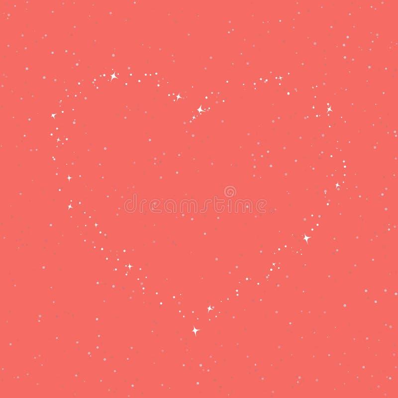 Η καρδιά των αστεριών στον ουρανό κοραλλιών απεικόνιση αποθεμάτων