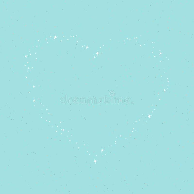 Η καρδιά των αστεριών στον τυρκουάζ ουρανό ελεύθερη απεικόνιση δικαιώματος