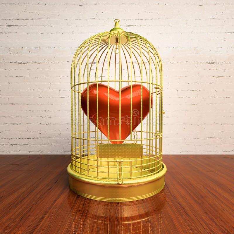 Η καρδιά που εσωκλείεται σε ένα χρυσό κλουβί απεικόνιση αποθεμάτων