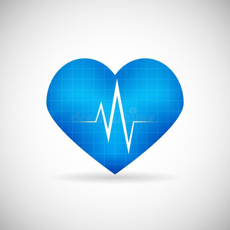 Η καρδιά συμβόλων υγειονομικής περίθαλψης και ιατρικής φροντίδας κτύπησε το ποσοστό ελεύθερη απεικόνιση δικαιώματος