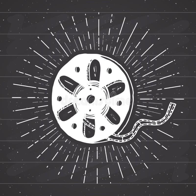 Η κασέτα και η ταινία κινηματογράφων τυλίγουν την εκλεκτής ποιότητας ετικέτα, συρμένο χέρι σκίτσο, grunge κατασκευασμένο αναδρομι απεικόνιση αποθεμάτων