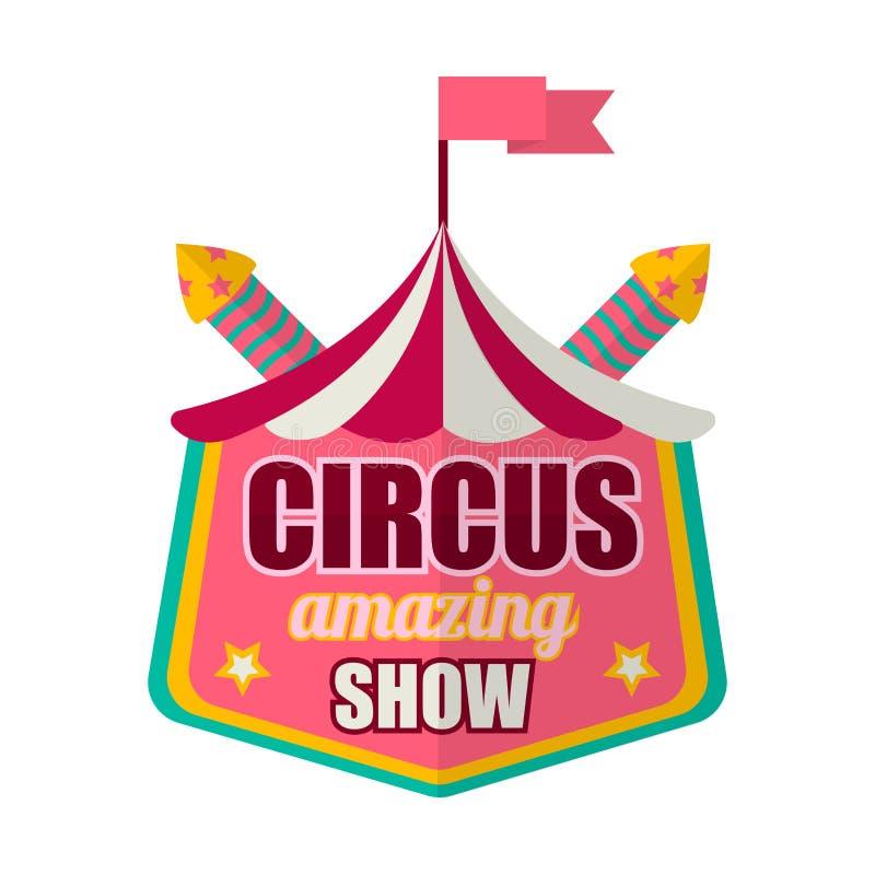 Η κατάπληξη τσίρκων παρουσιάζει ετικέτα λογότυπων που απομονώνεται στο λευκό απεικόνιση αποθεμάτων