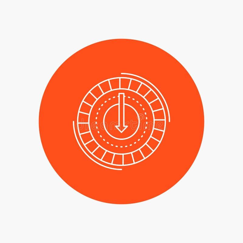 Η κατανάλωση, κόστος, δαπάνη, χαμηλότερη, μειώνει το άσπρο εικονίδιο γραμμών στο υπόβαθρο κύκλων διανυσματική απεικόνιση εικονιδί απεικόνιση αποθεμάτων