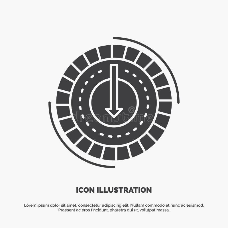 Η κατανάλωση, κόστος, δαπάνη, χαμηλότερη, μειώνει το εικονίδιο glyph διανυσματικό γκρίζο σύμβολο για UI και UX, τον ιστοχώρο ή τη ελεύθερη απεικόνιση δικαιώματος