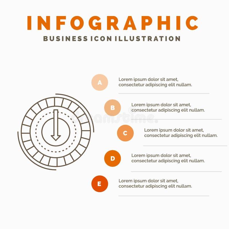 Η κατανάλωση, κόστος, δαπάνη, χαμηλότερη, μειώνει το πρότυπο Infographics για τον ιστοχώρο και την παρουσίαση Γκρίζο εικονίδιο γρ απεικόνιση αποθεμάτων