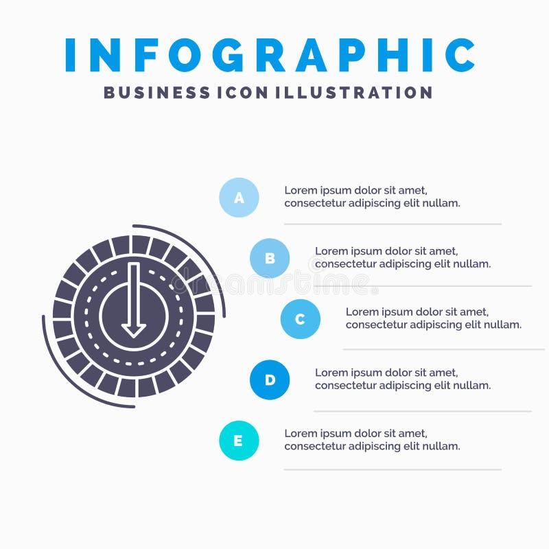 Η κατανάλωση, κόστος, δαπάνη, χαμηλότερη, μειώνει το πρότυπο Infographics για τον ιστοχώρο και την παρουσίαση Γκρίζο εικονίδιο GL απεικόνιση αποθεμάτων