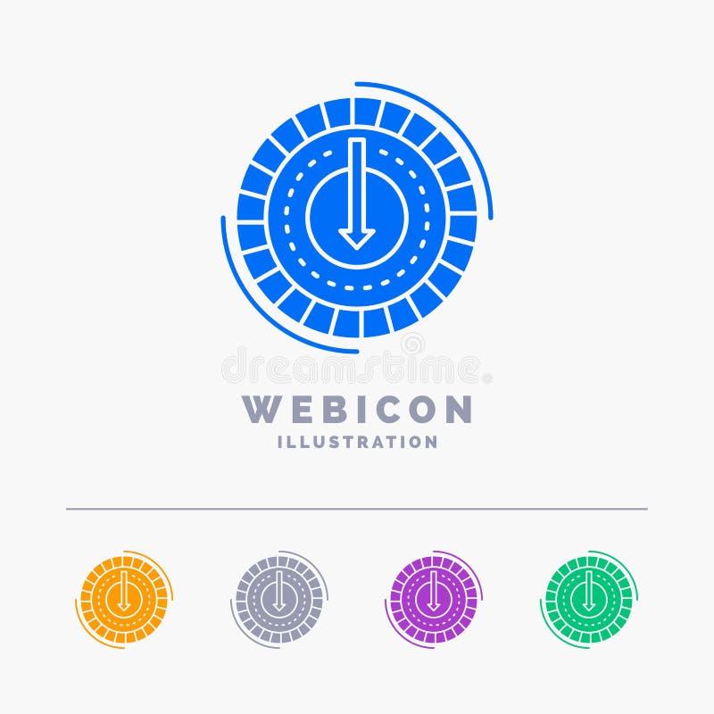 Η κατανάλωση, κόστος, δαπάνη, χαμηλότερη, το πρότυπο εικονιδίων Ιστού Glyph 5 χρώματος που απομονώνεται μειώνει στο λευκό r διανυσματική απεικόνιση
