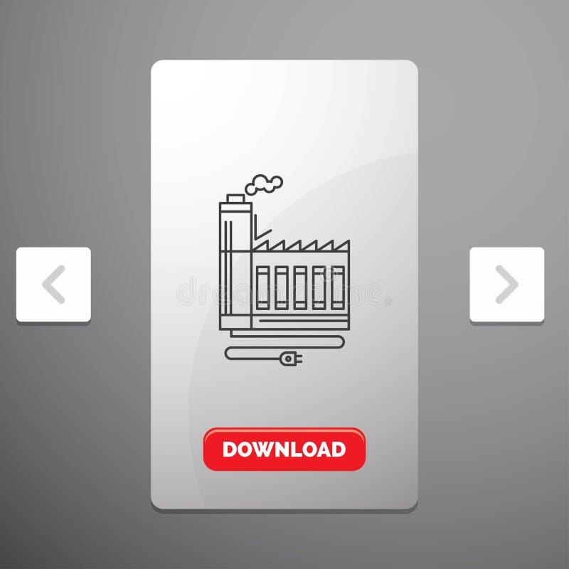 Η κατανάλωση, ο πόρος, η ενέργεια, το εργοστάσιο, το εικονίδιο γραμμών κατασκευής στο σχέδιο ολισθαινόντων ρυθμιστών σελιδοποιήσε ελεύθερη απεικόνιση δικαιώματος