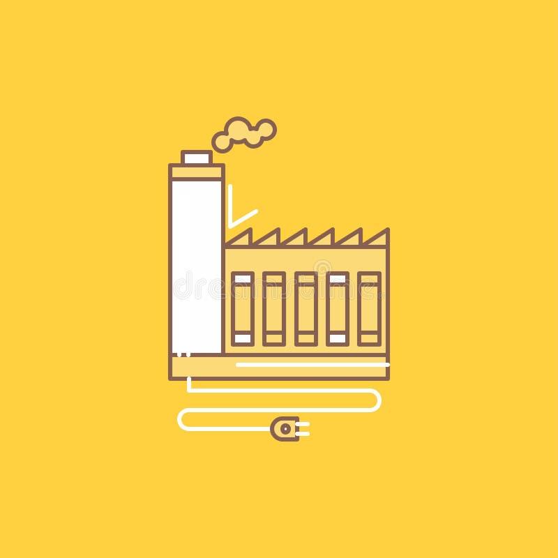 Η κατανάλωση, πόρος, ενέργεια, εργοστάσιο, επίπεδη γραμμή κατασκευής γέμισε το εικονίδιο Όμορφο κουμπί λογότυπων πέρα από το κίτρ απεικόνιση αποθεμάτων