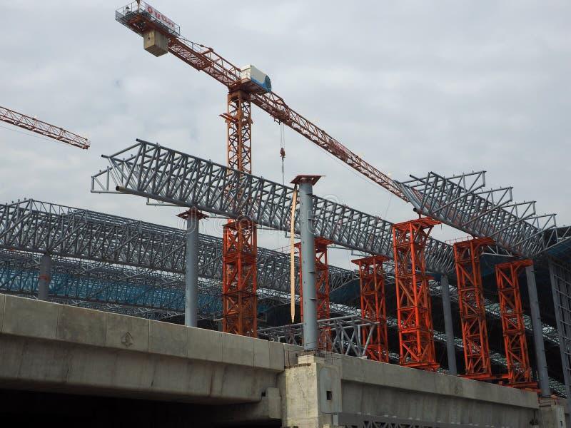 Η κατασκευή είναι εν εξελίξει στο μεγάλο σταθμό Bangsue στοκ φωτογραφία