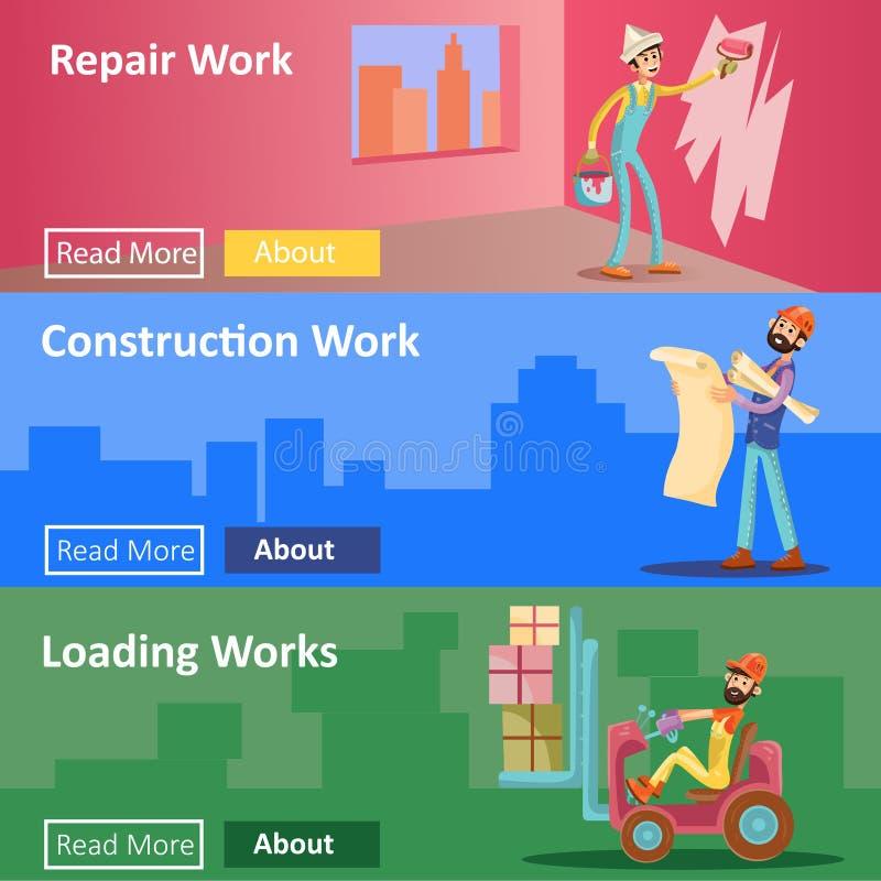 Η κατασκευή και η επισκευή σπιτιών λειτουργούν τα διανυσματικά επίπεδα εμβλήματα Ιστού απεικόνισης των εργαζομένων οικοδόμων για  διανυσματική απεικόνιση